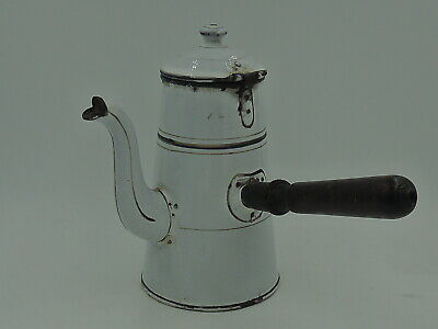 $48 • Buy Antique French Enamel Teapot Hot Chocolate Coffee Pot 1920's Enamelware