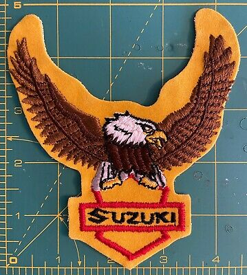 $15 • Buy Vintage American Bald Eagle SUZUKI Patch  NOS Gold Biker Motorcycle Jacket Patch