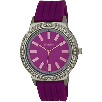 £15.95 • Buy Henley Glamour Purple Silicone Strap Watch With Diamante Crystal H0838.7