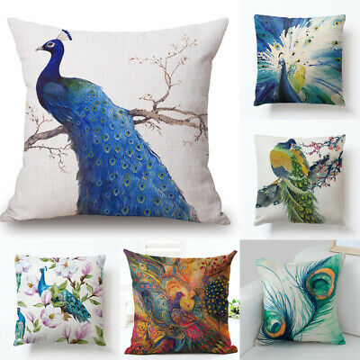 18  Nordic Peacock Pillow Case Sofa Bedroom Home Decor Throw Linen Cushion Cover • 2.99£