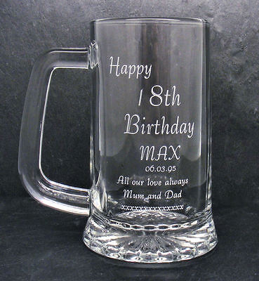 Personalised 1 Pint Glass Tankard 18th 21st 30th Birthday Free Gift Box LH • 11.99£