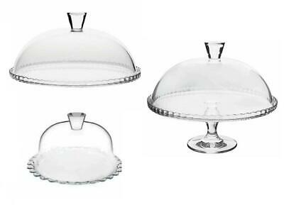 £10.99 • Buy Glass Footed Cake Stand Or Serving Plate With Dome Lid Cupcake Display 22cm 33cm