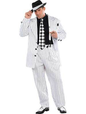 Adult Mens Pinstripe Daddy Gangster Suit 1920s 20s Fancy Dress Halloween Costume • 23.99£