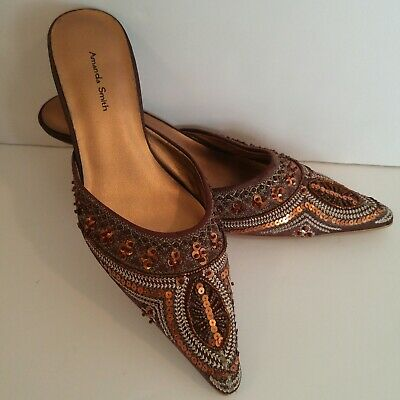 $34.99 • Buy Amanda Smith Shoes Beaded Satin Mules 7 Brown Kitten Heel Sequins Pointy Toe NEW