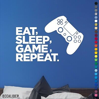 £12.25 • Buy PS4 PlayStation Eat Sleep Game Repeat Sticker Decal Wall Art Bedroom Gaming