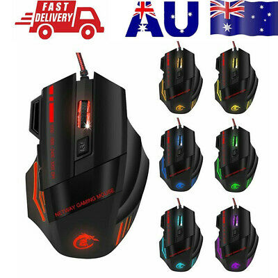AU18.79 • Buy AU 6800DPI LED Wired Optical Backlight Gaming Mouse  FOR PC Laptop 7 Button