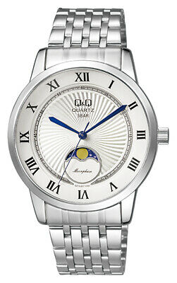 $ CDN56.91 • Buy  Qq Men's Moon Phase Silver Steel, Silver Dial, Dome Crystal Watch