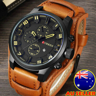 AU26.59 • Buy Curren Watch Military Army Quartz Wristwatches Leather Man's Casual Sports Watch
