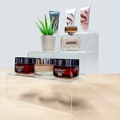 £10.50 • Buy 3 Step Tier Counter Display Stand - Acrylic Plinth Riser - Shop, Market (G83)