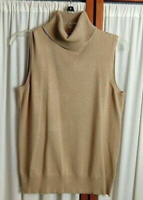 $7 • Buy CABLE & GAUGE Beige Sleeveless Turtleneck Sweater Top - Size M - NWT