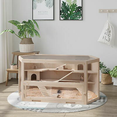 Large Wooden Hamster Cage Rodent Mouse Pet Small Animal Kit Guinea Pig 3-Tier • 85.99£