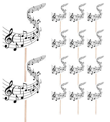 £4.99 • Buy 14 Party Food & Cup Cake Picks Sticks Decorations Toppers Music Musical Notes
