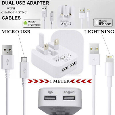 £2.79 • Buy Dual Ports UK Charger Plug 2.1A Output With 1M USB Cable For Android IOS Phones