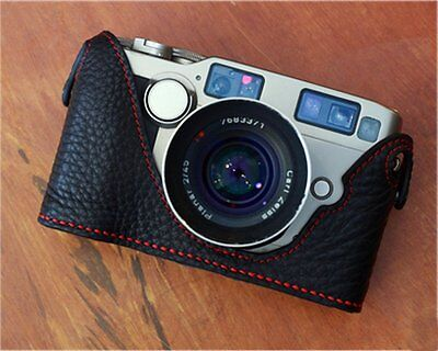 $ CDN88.21 • Buy Leather Black With Red Stitching Half Case For Contax G2 - BRAND NEW