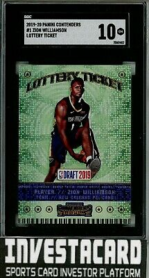 $85 • Buy 2019-20 Panini Contenders Zion Williamson #1 Lottery Ticket RC SGC 10