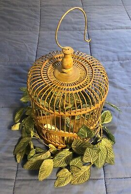 $49.99 • Buy Vintage Asian Bamboo Bird Cage Round - Carved - Wooden