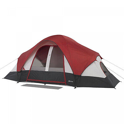 AU148.10 • Buy 8-Person Family Dome Tent W/ Rear Window 2-Rooms Camping Cabin Mud Mat Attached