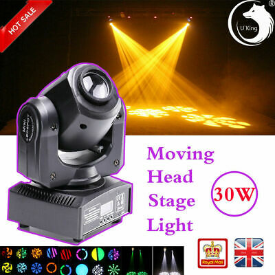 30W Pinspot RGBW LED Moving Head Stage Light Gobo Pattern DMX DJ Disco Party Bar • 65.99£