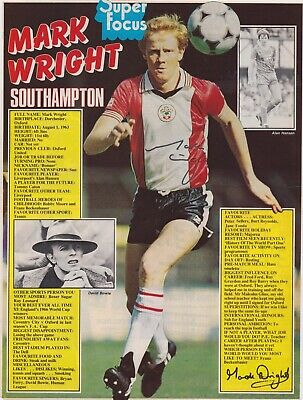 £8 • Buy MARK WRIGHT (Southampton Derby England & Liverpool FC) Hand SIGNED A4 Poster