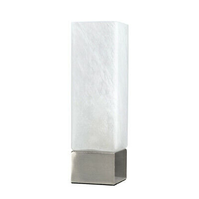 £11.99 • Buy Metal & Glass LED Touch Table Lamp Light Square Frosted White Glass Shade + Bulb
