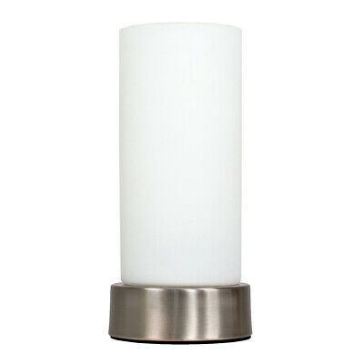 £11.99 • Buy MiniSun Table Lamp - Modern Chrome Cylinder Bedside Light Frosted Glass Shade