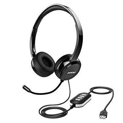 Mpow USB 3.5mm Wired Computer Headset Stereo Headphones Mic For Skype PC Laptop • 24.90£