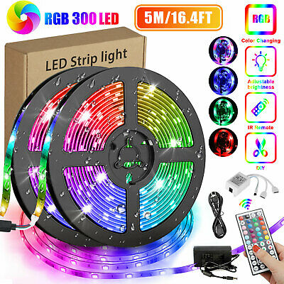 $12.88 • Buy 16.4FT RGB Flexible 300LED Strip Light SMD Remote Fairy Lights Room TV Party Bar