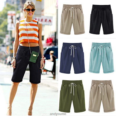 £11.90 • Buy Womens Combat Chino Cargo Shorts Knee Length Summer Holiday Pants Plus Size 6-22