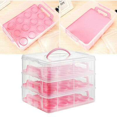 Cupcake Carrier Cake Storage Box Plastic 3 Tier Holder Lightweight Container UK • 18.95£