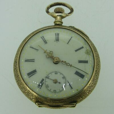 Antique French Remontoir 0s Jeweled 14k Solid Gold Pocket Watch • 288.92£