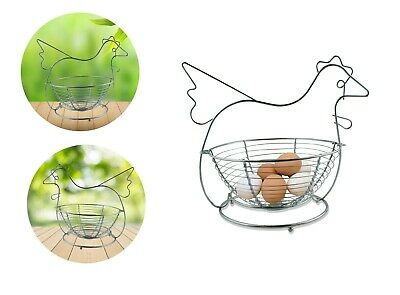 Egg Basket Holder Stainless Steel Chicken Hen Eggs Storage Organiser • 9.99£