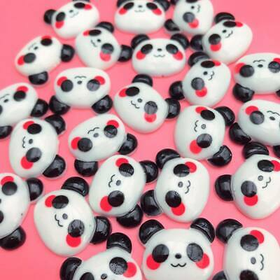 10 X Kawaii Panda Head Resin Cabochon Flatbacks Cute Japan Decoden Craft Charms • 1.49£