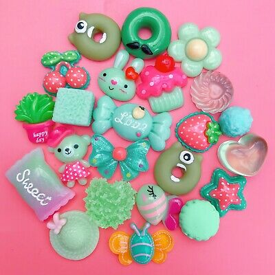 15 GREEN Kawaii Resin Cabochons Cute Pastel Animal Flatback Charms Decoden Candy • 1.99£