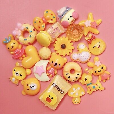 15 YELLOW Kawaii Resin Cabochons Cute Pastel Flatback Charm Decoden Animal Candy • 1.99£