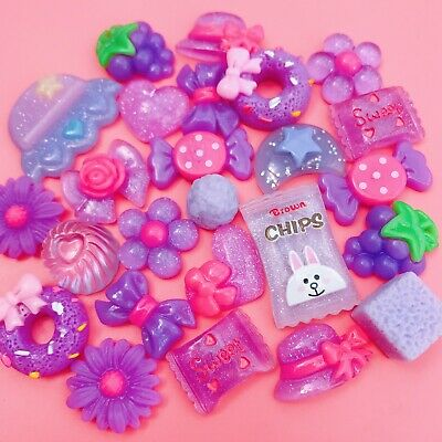 15 LILAC Kawaii Resin Cabochons Cute Pastel Purple Flatback Charms Decoden Candy • 2.99£