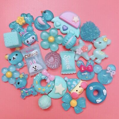 15 BLUE Kawaii Resin Cabochons Cute Pastel Flatback Charms Decoden Candy Animals • 1.99£