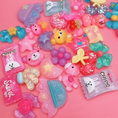 15 GLITTERY Resin Cabochons Cute Colourful Flatbacks Charms Kawaii Fairy Decoden • 1.99£