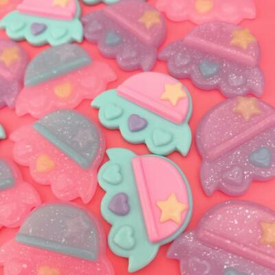 6 X Kawaii Pastel + Glitter Resin UFO Spaceship Cabochon Flatbacks Decoden Craft • 1.99£