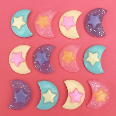 8 X Kawaii Pastel Glitter Resin Crescent Moon Cabochon Flatbacks Decoden Craft • 1.99£