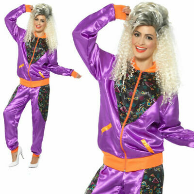 Womens Purple 80's Retro Shell Suit Trackie Adult Ladies Fancy Dress Costume Med • 17.99£