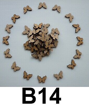 50 X WOODEN BUTTERFLY SHAPES LASER CUT MDF CRAFTS EMBELLISHMENTS DECORATIONS • 1.50£