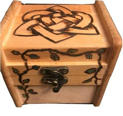 $20.95 • Buy Wooden Trinket Box With Hinged Lid