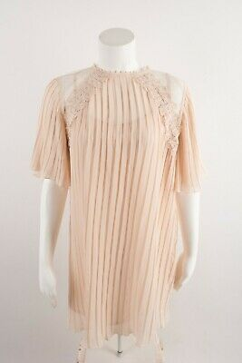 $59 • Buy Zara Womens Pleated Guipure Dress Small Pink Mini Lace Embroidered 5598/226 NWOT