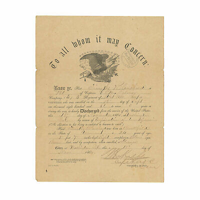 $103.50 • Buy 1864 Civil War Discharge For Pvt. Timothy Blanchard, 1st Vermont Cavalry & VRC
