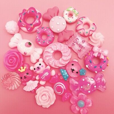 15 PINK Kawaii Resin Cabochons Cute Pastel Flatback Charms Decoden Animals Candy • 1.99£