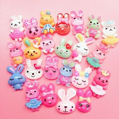 15 Kawaii Resin Bunny Rabbit Cabochons Cute Decoden Craft Charm Animal Flatbacks • 1.99£