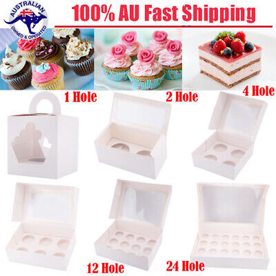 AU11.98 • Buy Cupcake Boxes Cases 1 Hole 2 Hole 4 Hole 6 Hole 12 Hole 24 Hole Cake Boards Gift