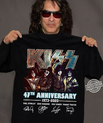 $19.99 • Buy Kiss 47th Anniversary Paul Stanley Gene Simmons Eric Sinder Tommy Thayer T-shirt