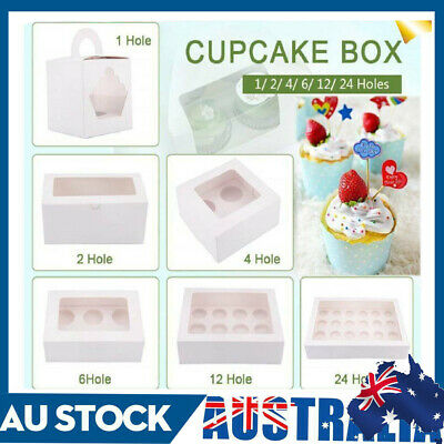 AU17.98 • Buy 1/2/4/6/12/24 Holes White Cupcake Box Cases Holds 12 Cup Cakes With PVC Window