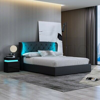 AU369.95 • Buy LED Lighting PU Leather Bed Frame Gas Lift Storage Wooden Furniture Double Black
